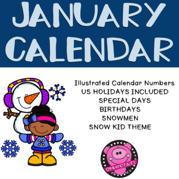 January Illustrated Calendar Numbers