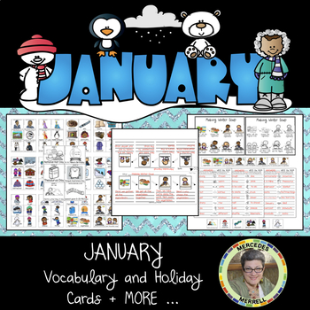 JANUARY Vocabulary and Holiday Cards + MORE… Grades 1-3