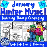 WINTER MUSIC Easel Activities Worksheets Listening Composing Theory Coloring