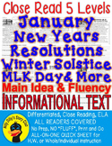 JANUARY WINTER SOLSTICE RESOLUTIONS MLK DAY & MORE CLOSE READING LEVEL PASSAGES!