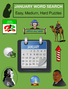 JANUARY Word Search Bundle - New Year, Winter - 3 levels - Early Finisher