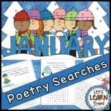 January Poetry, Word Searches, Winter Theme, Original Poetry, January Activities