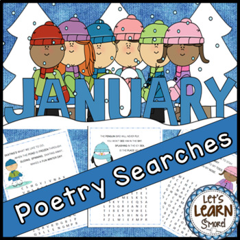 January Poetry, Word Searches, Winter Theme, Original Poet