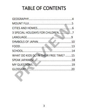 JAPAN - Learn About Japan – An 18 Page Student Informational Reading Booklet