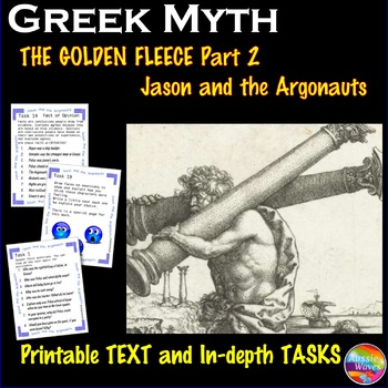 Greek Myth JASON and the ARGONAUTS Text & Task Cards Conne