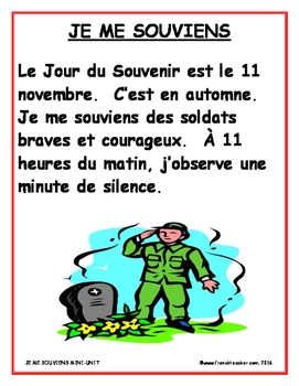JE ME SOUVIENS FRENCH REMEMBRANCE DAY MINI-UNIT