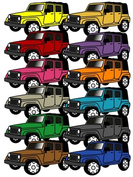 JEEP CLIP ART * COLOR AND BLACK AND WHITE