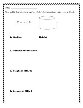 JELLO-O Lab:  Finding the Volume of a Cylinder