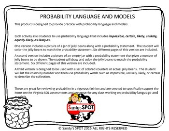 JELLY BEAN PROBABILITY Virginia SOL 3.18 Language and Models