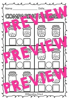 COMPARING NUMBERS WORKSHEETS: JELLYBEANS COMPARING NUMBERS 1 TO 10 PRINTABLES