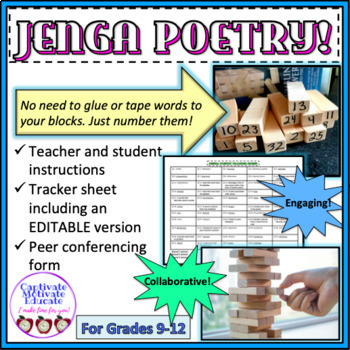 Jenga Poetry Fast Paced Game Collaborative Poetry Writing Activity