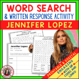 JENNIFER LOPEZ Word Search and Research Activity for Middl