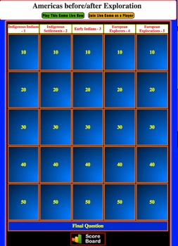 JEOPARDY REVIEW:  Age Before / After Exploration (4th U.S. History)