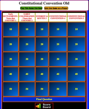 JEOPARDY REVIEW:  Constitutional Convention (4th U.S. History)