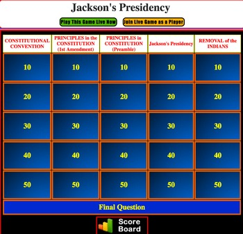 JEOPARDY REVIEW:  Jackson Presidency & Removal of Indians (4th U.S. History)