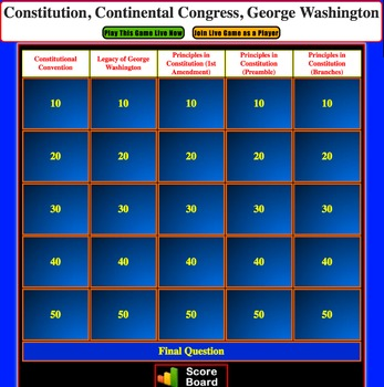 JEOPARDY REVIEW:  Principles in Constitution & G. Washington (4th U.S. History)