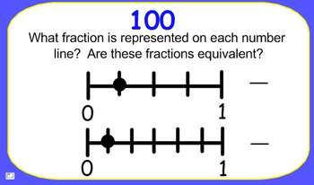 JEOPARDY for SMARTBOARD:  CCSS 3.NFA.3 Equivalent Fractions, Number Line & More