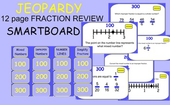 JEOPARDY for SMARTBOARD:  FRACTION REVIEW