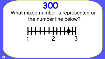 JEOPARDY for SMARTBOARD:  Mixed Numbers on a Number Line