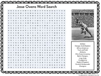 Track and Field   Jesse Owens Word Search