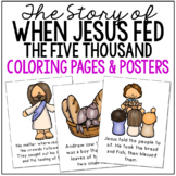 JESUS FEEDS THE FIVE THOUSAND Bible Story Coloring Pages and Posters, Activity