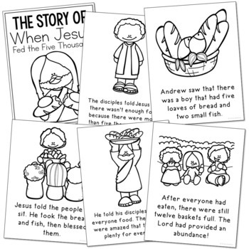 JESUS FEEDS THE FIVE THOUSAND Bible Story Coloring Pages ...