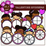 VALENTINE SPINNERS Digital Clipart (color and black&white)