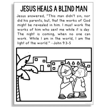 Heals The Blind Man Coloring Pages Download Printable Jesus ... | 350x350