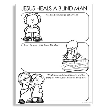 Bible Story Coloring Page for Jesus and the Man Born Blind | Free ... | 350x350