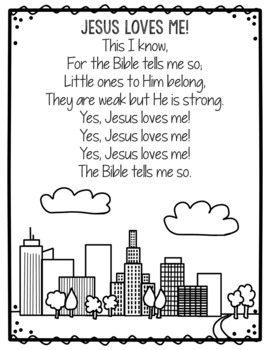 Jesus Loves Me Hymn Coloring Page Poster Sunday School Activity