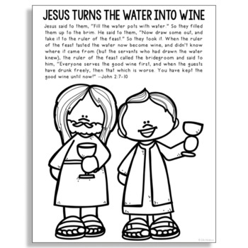 Free Jesus Turns Water Into Wine Coloring Pages, Download Free ... | 350x350