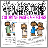 JESUS TURNS THE WATER INTO WINE Coloring Pages and Posters, Craft Activity