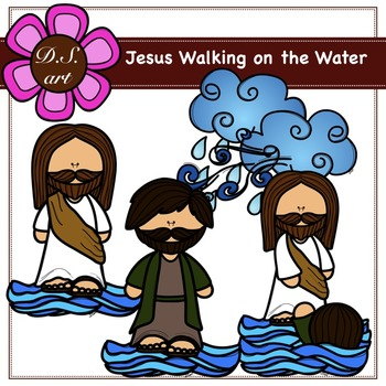 JESUS WALKING ON THE WATER Free Digital Clipart (color and