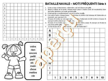 JEU - BATAILLE NAVALE (TOUCHÉ ÉCOULÉ) Mots fréquents Série 3