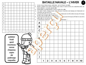 JEU BATAILLE NAVALE VOCABULAIRE DE L'HIVER – Série #1