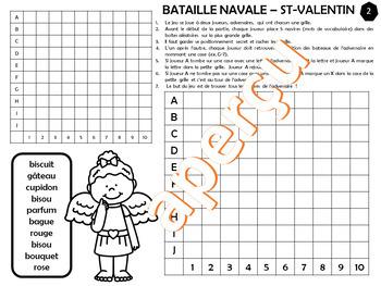 JEU BATAILLE NAVALE VOCABULAIRE DE LA ST-VALENTIN– Série #1