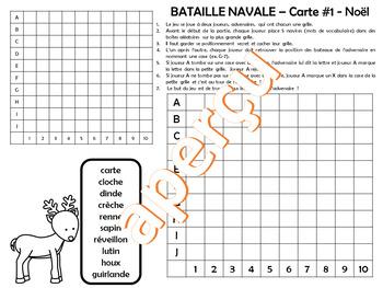 JEU BATAILLE NAVALE VOCABULAIRE DE Noël – Série #1
