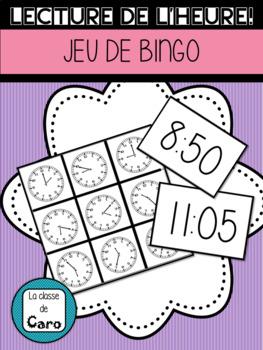 JEU DE BINGO - LECTURE DE L'HEURE PAR 5 MINUTES (FRENCH FSL)