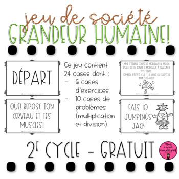 JEU DE SOCIÉTÉ GRANDEUR HUMAINE // FRENCH MATH GAME FREEBIE