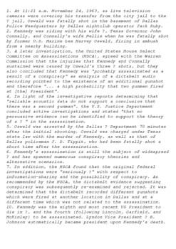 JFK Assassination 22nd November 1963 Crossword