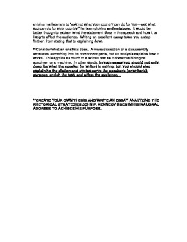 AP English Language and Composition JFK Inagural Speech Rhetorical Analysis