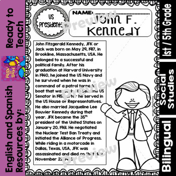 JFK (John F. Kennedy)- American Presidents - Worksheets and Readings - Bilingual
