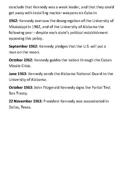 JFK Timeline and Quotes with activities.