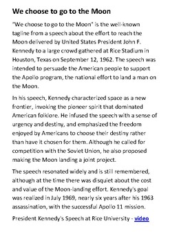 JFK We choose to go to the Moon Speech Handout by Steven's ...