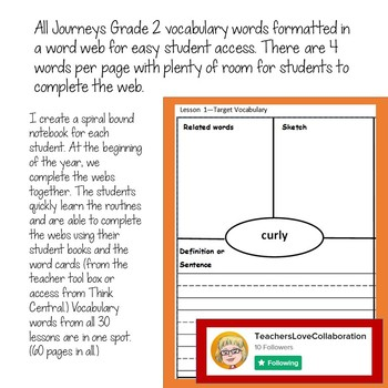 Gr2 Journeys Vocabulary in Context Word Webs ALL LESSONS