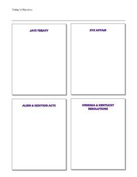 Jay's Treaty, XYZ Affair, Alien & Sedition Acts, VA/KY Resolutions.