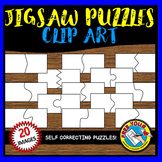 JIGSAW PUZZLES CLIPART (20 SELF CORRECTING PUZZLE TEMPLATES)