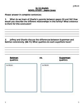 JJ NS #2 - Jasper Jones Novel Study Questions #2 (Chapter