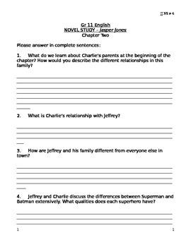 JJ NS #4 - Jasper Jones Novels Study Questions # 4 (Chapter 2) .docx version