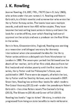JK Rowling Handout